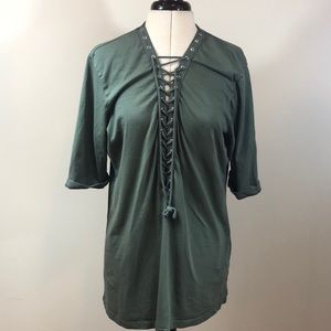 *Updated Pics- LF Green Lace Up Boyfriend Shirt